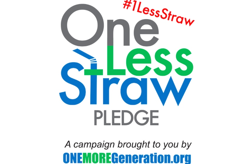 Poster: One less straw pledge - a campaign brought to you by One More Generation dot org