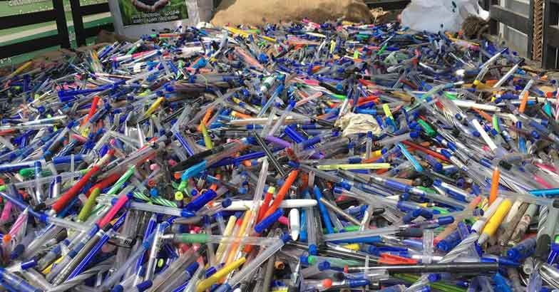 Used plastic pens from 150 schools in India