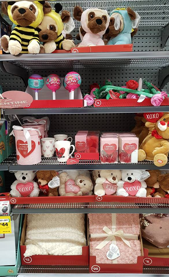 Photo of a supermarkets Valentine'd Day products for sale