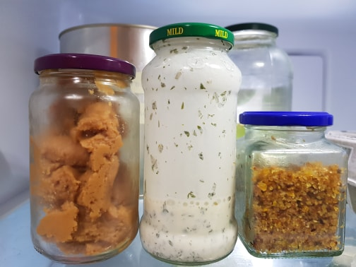 A photo of glass jars to store food in the fridge rather than using cling wrap