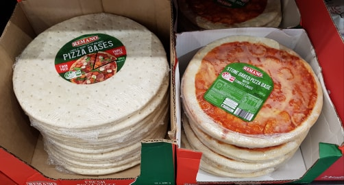 Shop purchased pizza bases wrapped in polluting plastic