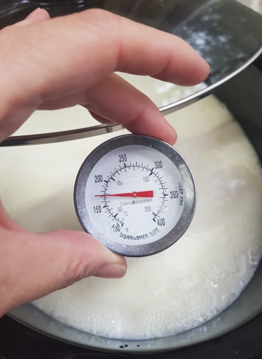 Check the temperature of the milk with a thermometer