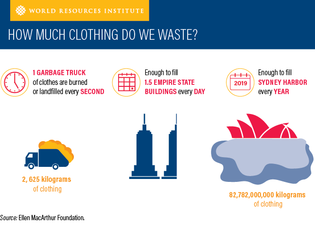 A visual explanation from the World Resources Institute showing how much clothing is wasted each year.